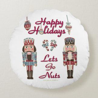 Almofada Redonda O Nutcracker do feriado deixa para ir os loucos