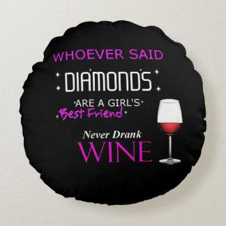 Almofada Redonda O vinho é meu travesseiro redondo de BFF