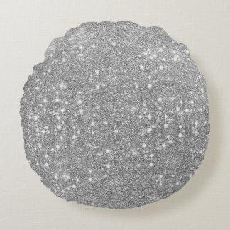 Almofada Redonda Olhar metálico do metal de prata da faísca do