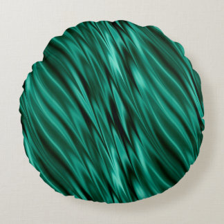 Almofada Redonda Ondas de seda verdes da cerceta