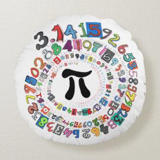 Almofada Redonda Os dígitos do Pi formam uma espiral colorida