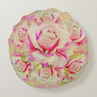 Almofada Redonda Os rosas escovaram o travesseiro decorativo