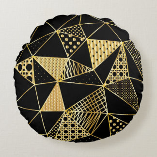 Almofada Redonda ouro e travesseiro redondo do preto