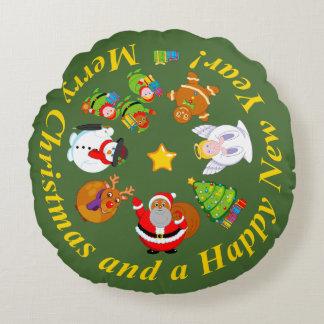 Almofada Redonda Papai Noel preto e outros caráteres do Natal,