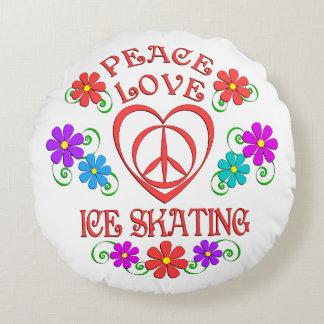 Almofada Redonda Patinagem no gelo do amor da paz
