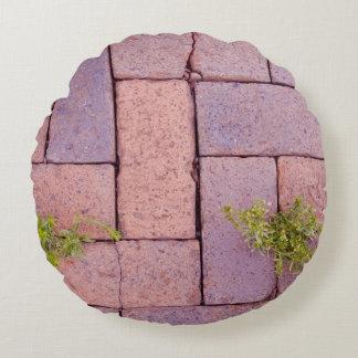 Almofada Redonda Pedras de pavimentação e ervas daninhas na