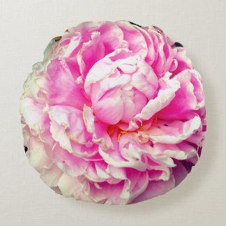 Almofada Redonda Peônias cor-de-rosa e brancas