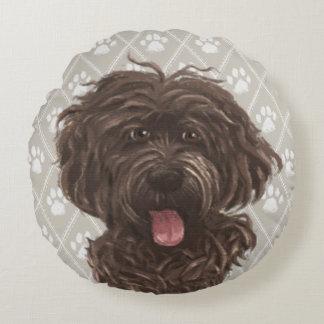 Almofada Redonda Pinturas do cão de Brown Labradoodle/amor de