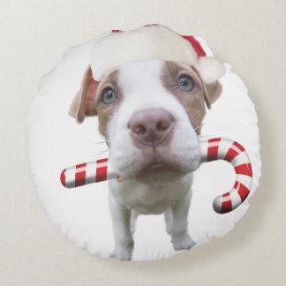 Almofada Redonda Pitbull do Natal - pitbull do papai noel - cão de