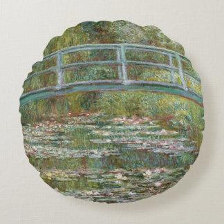 Almofada Redonda Ponte da arte de Monet sobre uma lagoa de lírios