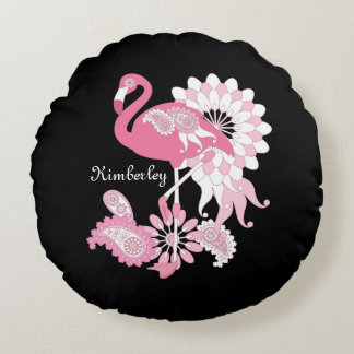 Almofada Redonda Preto personalizado elegante bonito do flamingo