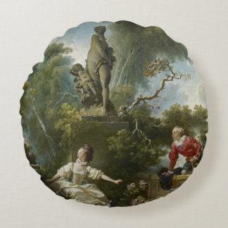 Almofada Redonda Progresso de Fragonard do amor o encontro