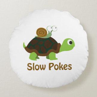 Almofada Redonda Retarde puxões tartaruga bonito e caracol