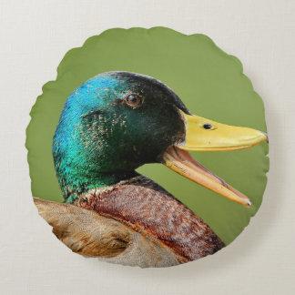 Almofada Redonda retrato do pato do pato selvagem