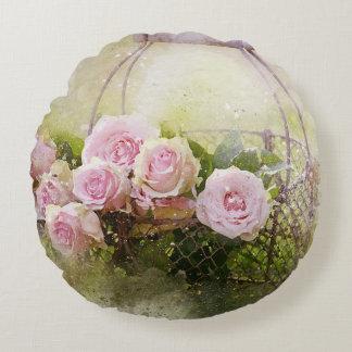 Almofada Redonda Rosas cor-de-rosa do chique no Watercolour da