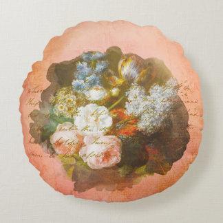 Almofada Redonda Roteiro da antiguidade do buquê da flor do chique