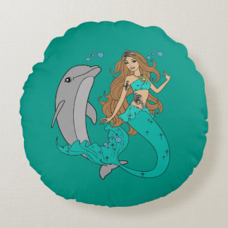 Almofada Redonda Sereia com golfinho