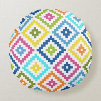 Almofada Redonda Símbolo asteca Ptn grande do bloco colorido