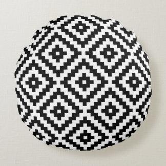 Almofada Redonda Símbolo asteca Ptn grande I preto e branco do