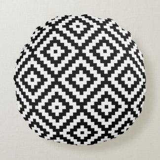 Almofada Redonda Símbolo asteca Ptn grande II preto e branco do