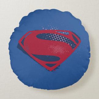 Almofada Redonda Símbolo do superman da escova & da reticulação da