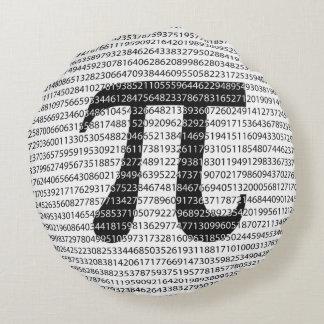 Almofada Redonda Símbolo matemático do dia preto original do pi do