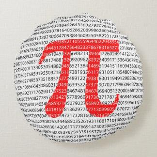 Almofada Redonda Símbolo matemático do dia vermelho original do pi