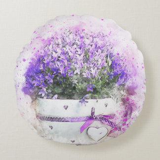 Almofada Redonda Splatter da pintura do flowerpot das flores da
