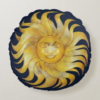 Almofada Redonda Sun de sorriso boémio em #1 azul