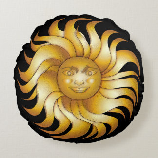 Almofada Redonda Sun de sorriso corajoso em #1 preto