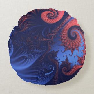 Almofada Redonda Tentáculos corais do vermelho e do azul de índigo