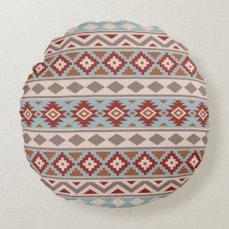 Almofada Redonda Terracottas azuis de Crm do Taupe asteca de Ptn