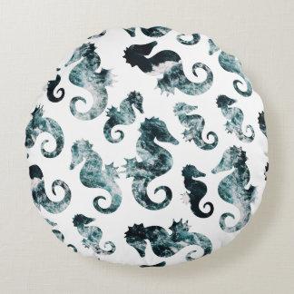 Almofada Redonda Teste padrão abstrato dos cavalos marinhos do aqua