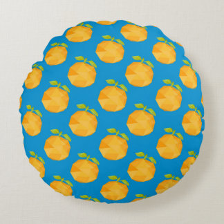 Almofada Redonda Teste padrão abstrato dos pêssegos do polígono