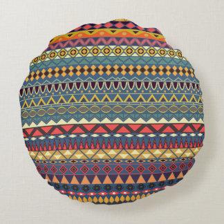 Almofada Redonda Teste padrão asteca tribal do vintage