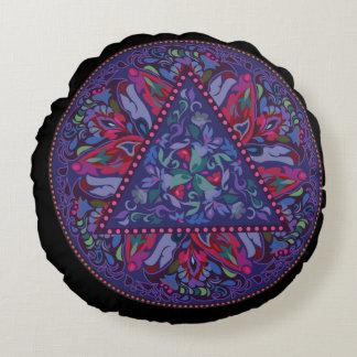 Almofada Redonda Teste padrão boémio brilhante do chique do hippy