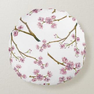 Almofada Redonda Teste padrão da flor de cerejeira de Sakura