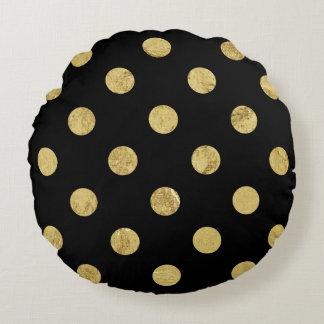 Almofada Redonda Teste padrão de bolinhas elegante da folha de ouro