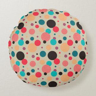 Almofada Redonda Teste padrão de bolinhas geométrico colorido