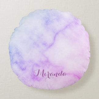 Almofada Redonda Teste padrão de mármore do arco-íris com nome