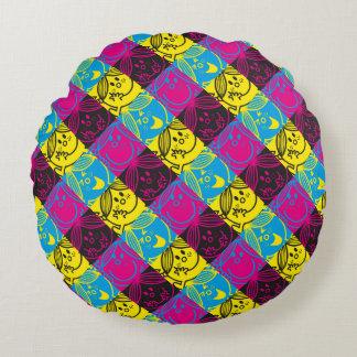 Almofada Redonda Teste padrão de néon pequeno da senhorita Luz do