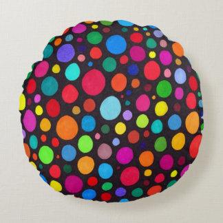 Almofada Redonda Teste padrão desenhado mão Dotty