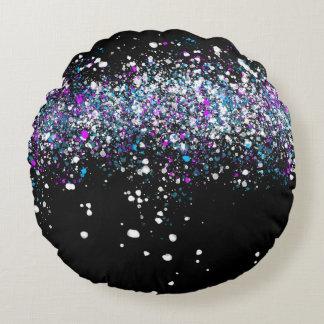 Almofada Redonda Teste padrão do Splatter - obscuridade com azul e