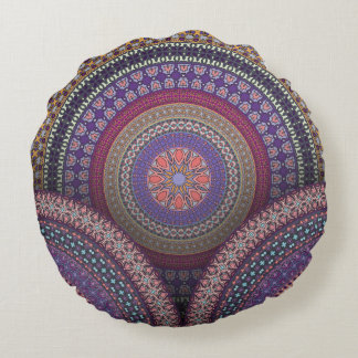 Almofada Redonda Teste padrão floral étnico abstrato colorido de da