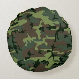 Almofada Redonda Teste padrão verde de Camo Brown da camuflagem
