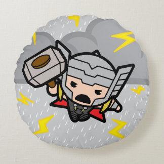 Almofada Redonda Thor de Kawaii com relâmpago