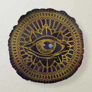 Almofada Redonda Todo o ouro místico de vista do olho no céu da
