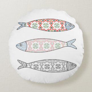 Almofada Redonda Traditional Portuguese icon. Colored sardines
