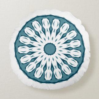 Almofada Redonda Travesseiro boémio da mandala de turquesa