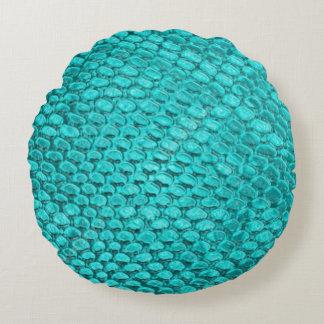 Almofada Redonda Travesseiro bonito da textura do cobra de turquesa